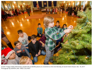 Decorating a tree at Government House