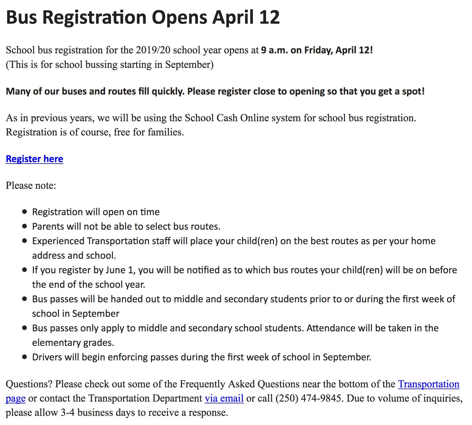 Bus Registration Opens April 12